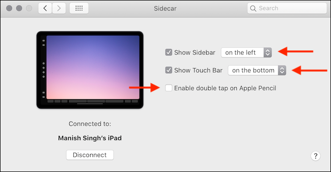 Sidecar options in System Preferences