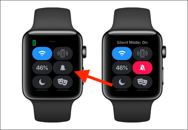 Tap on Bell icon to enable silent mode on Apple Watch