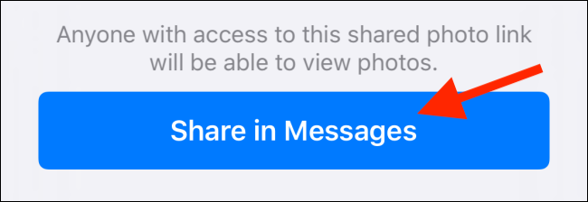 "Tap ""Share in Messages."""