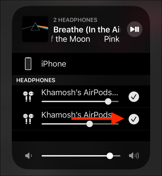 Tap on checkmark to disconnect the headphones