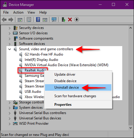 Windows 10 Uninstall Audio Device