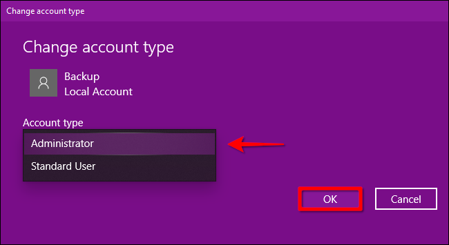 Windows 10 Change Account Type Part 2