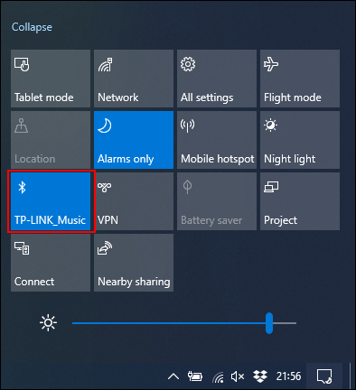 Click the Bluetooth tile to enable or disable it.