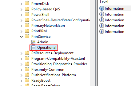 In Event Viewer, click PrintService, then click Operational
