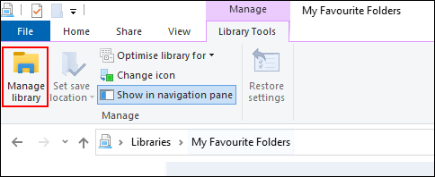 "Click ""Manage Library."""