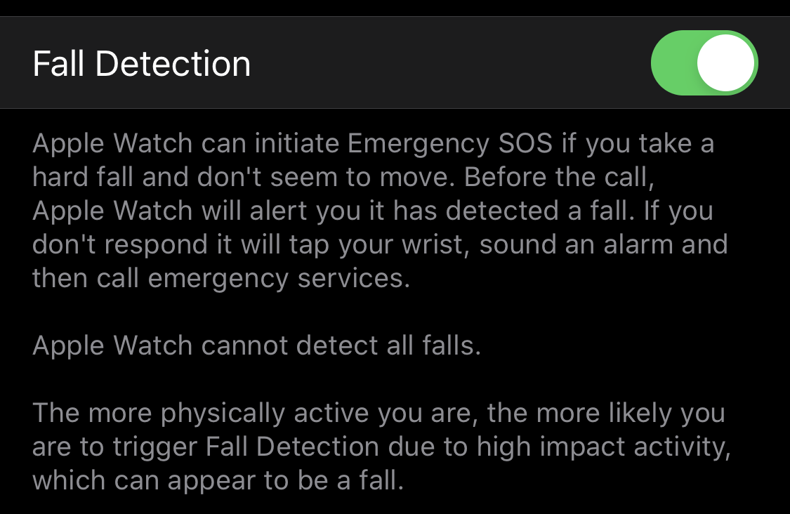 """The """"Fall Detection"""" option on Apple Watch."""