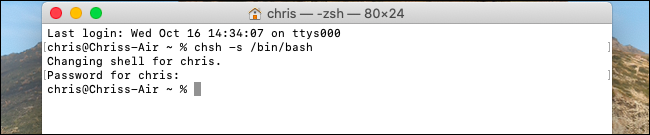 Changing the default shell to Bash on macOS Catalina.