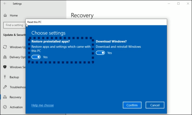 Removing preinstalled manufacturer bloatware while resetting a PC on Windows 10.