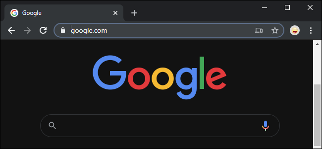 Chrome forcing dark mode on Google's home page.