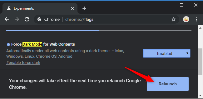 Relaunching Chrome after enabling a flag.