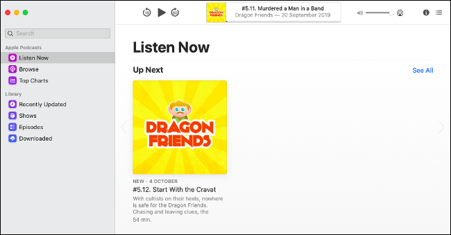 New Podcasts app in macOS Catalina