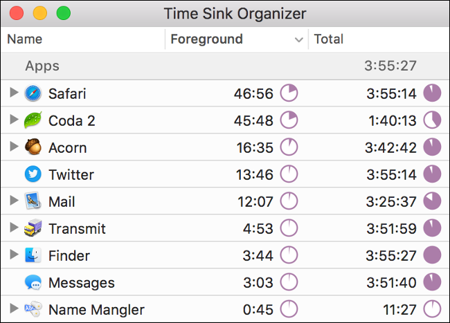 """""""Time Sink Organizer"""" stats in the Time Sink app."""
