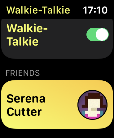 The Walkie-Talkie App on Apple Watch.