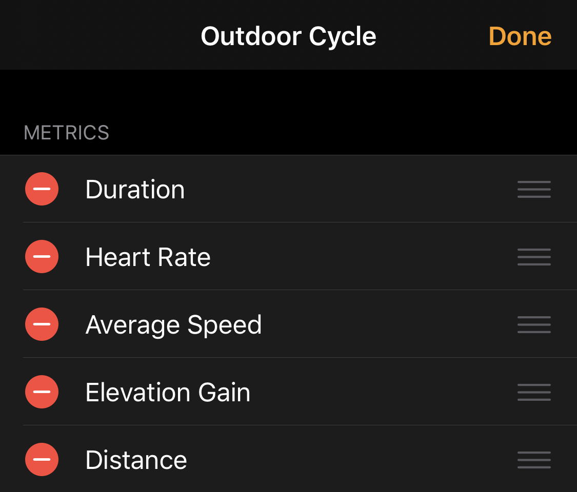 """An """"Outdoor Cycle"""" workout display on Apple Watch."""