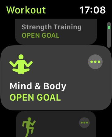 """The """"Mind & Body"""" workout type in the Workout app on Apple Watch."""