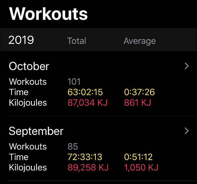 """The """"Workouts"""" data in the Activity App."""