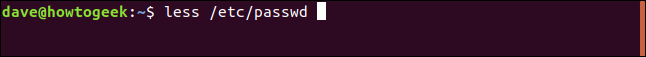 "The ""less /etc/passwd"" command in a terminal window."