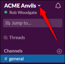 The Slack workspace menu arrow.