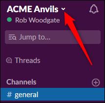 The Slack workspace menu arrow.