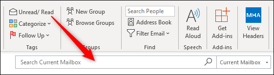 The Outlook Search box.