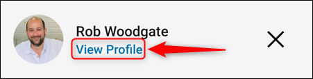 """The """"View Profile"""" option."""