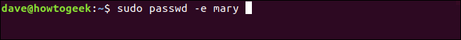 "The ""sudo passwd -e mary"" command in a terminal window."