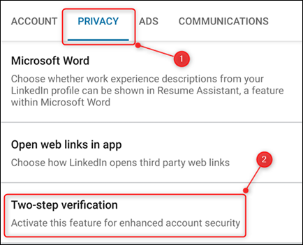 "The Privacy tab, with the ""Two-step verification"" option highighted."