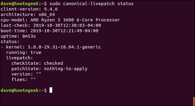 sudo canonical-livepatch status in a terminal window