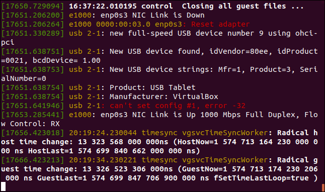 Output from sudo dmesg --follow n a terminal window
