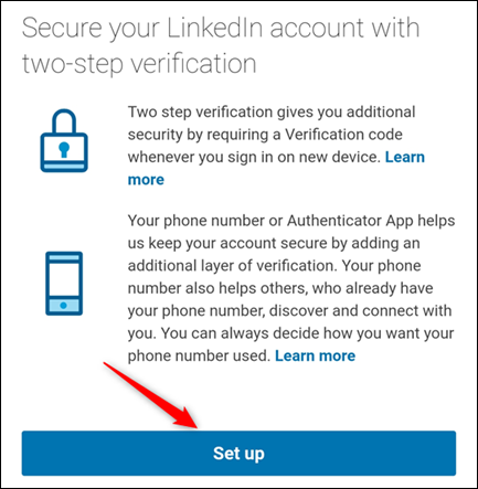 """The two-step verification """"Set up"""" button."""