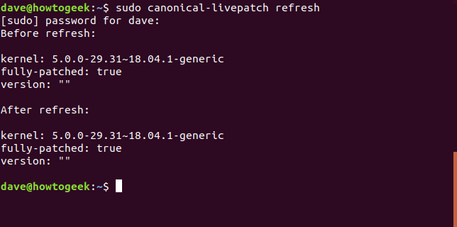 sudo canonical-livepatch refresh in a terminal window