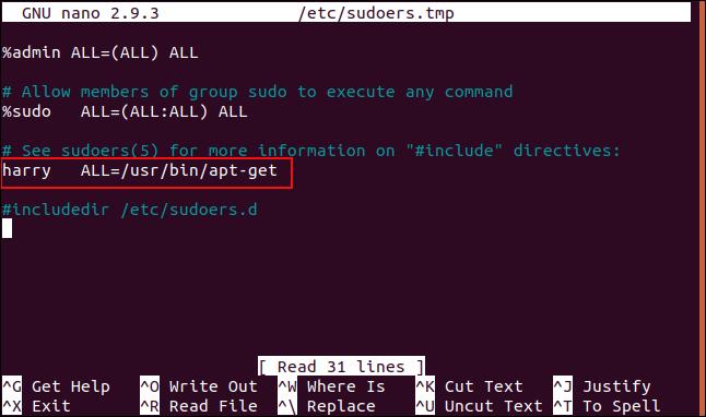 sudoer file entry for harry