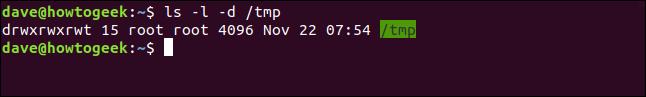 ls -l -d /tmp in a terminal window