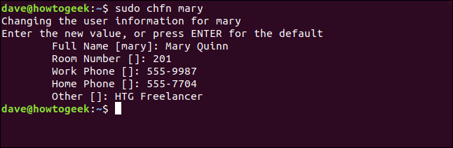 Completed session for sudo chfn mary in a terminal window
