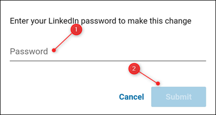 The Password entry field and the Submit button.