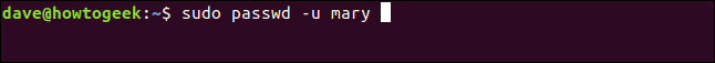 "The ""sudo passwd -u mary"" command in a terminal window."
