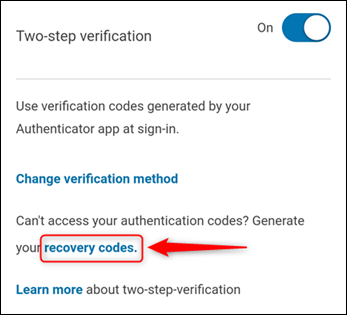 """The """"Two-step verification"""" settings, with """"recovery codes"""" highlighted."""