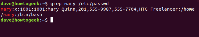 grep mary /etc/passwd in a terminal window
