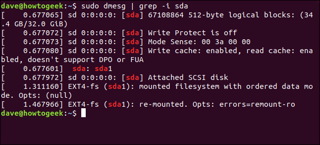 output from sudo dmesg | grep -i sda in a terminal window