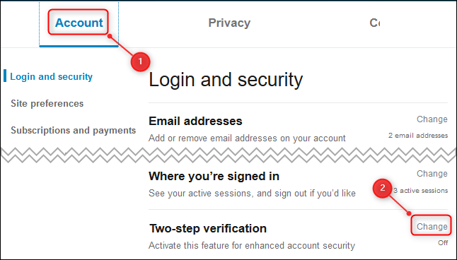 """The Account tab, and the """"Two-step verification"""" option."""