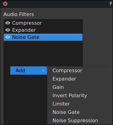 OBS filters for microphone dialog adding a filter
