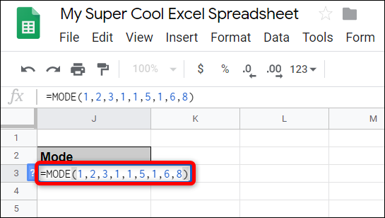Click on an empty cell and type =MODE(<Value1>, [<Value2>, ...]), replacing <Value1> and <Value2> with the values or range of data you want to find the mode for.