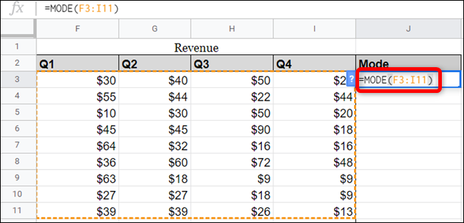 You can use references to ranges from your spreadsheet in the function as well.