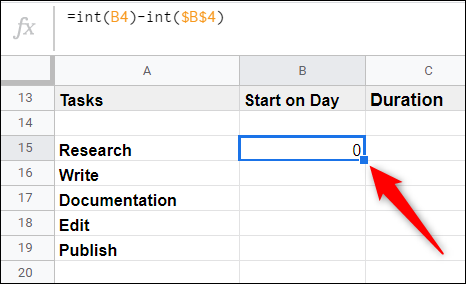 Click on the cell you previously entered the formula into, and then double-click the little blue square to apply the same formula to the subsequent cells in the column.