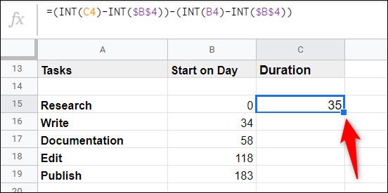 Just like before, click on the previous cell, and then double-click the little blue square to apply the formula to the remaining cells in the column.
