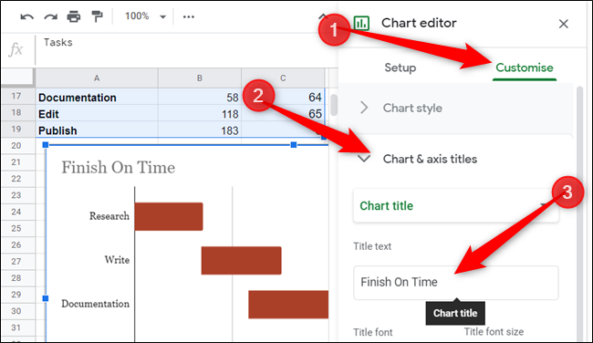 "Next, give your Gantt chart a title by clicking on the Customise tab, Chart & axis titles, and then type it into the ""Title text"" box provided."