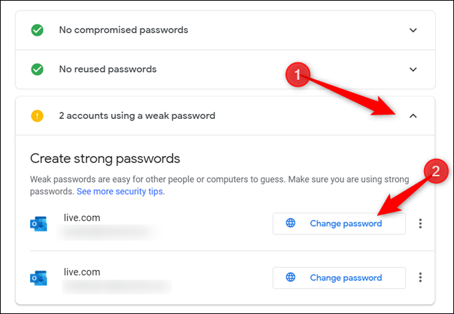 """If there are any warnings/alerts, click on the section with the alert, and click """"Change password"""" to redirect to the account management page for that website."""