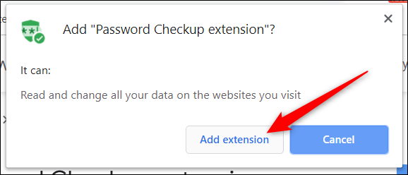 "Read the permissions, and then click ""Add extension."""