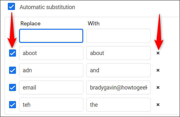 Temporarily disable shortcuts with the checkbox to the left and delete them from the list with the X on the right.