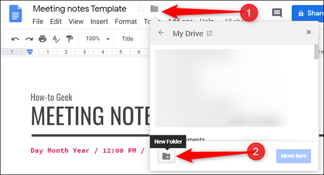 Move the template to a folder for your Google Docs templates. If one doesn't exist, create one.
